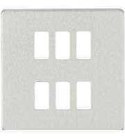 Knightsbridge Screwless 6G grid faceplate (Chrome)