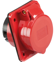 ML Accessories 415V IP44 16A Angled Panel Mount Socket 3P+N+E X 10 Pack (Red)