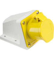 ML Accessories 110V IP44 16A Angled Surface Mount Socket 2P+E (Yellow)