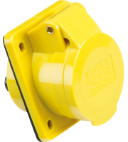 ML Accessories 110V IP44 16A Angled Panel Mount 2P+E (Yellow) X 10 Pack