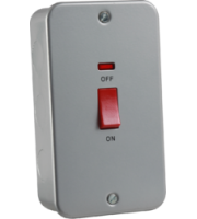 ML ACCESSORIES Metal Clad 45A Dp Switch With Neon - Large Plate