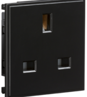 ML ACCESSORIES 13A 1G (Black) Unswitched Modular Socket (50x50mm)