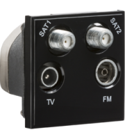 ML ACCESSORIES (Black) Modular Quadplexed SAT1/SAT2/TV/FM Dab Outlet