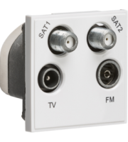 ML ACCESSORIES (White) Modular Quadplexed SAT1/SAT2/TV/FM Dab Outlet