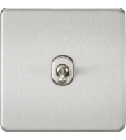 ML ACCESSORIES Screwless 10A 1G Intermediate Toggle Switch - (Brushed Chrome)