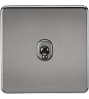 ML ACCESSORIES Screwless 10A 1G Intermediate Toggle Switch - (Black Nickel)