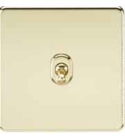 ML ACCESSORIES Screwless 10A 1G Intermediate Toggle Switch - (Polished Brass)