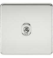 ML ACCESSORIES Screwless 10A 1G Intermediate Toggle Switch - (Polished Chrome)