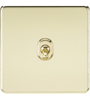 ML ACCESSORIES Screwless 10A 1G 2-Way Toggle Switch - (Polished Brass)