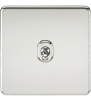 ML ACCESSORIES Screwless 10A 1G 2-Way Toggle Switch - (Polished Chrome)