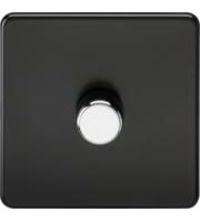 ML ACCESSORIES Screwless 1G 2 Way 10-200W Dimmer - (Matt Black) With Chrome Knob