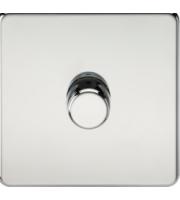 ML ACCESSORIES Screwless 1G 2 Way 10-200W Dimmer - (Polished Chrome)