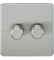 ML ACCESSORIES Screwless 2G 2 Way 10-200W Dimmer - (Brushed Chrome)