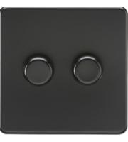 ML ACCESSORIES Screwless 2G 2 Way 10-200W Dimmer - (Matt Black)