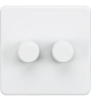 ML ACCESSORIES Screwless 2G 2 Way 10-200W Dimmer - (Matt White)