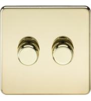 ML ACCESSORIES Screwless 2G 2-way 10-200W (5-150W Led) Trailing Edge Dimmer - (Polished Brass)