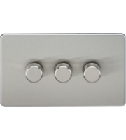 ML ACCESSORIES Screwless 3G 2 Way 10-200W Dimmer - (Brushed Chrome)