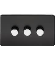 ML ACCESSORIES Screwless 3G 2-way 10-200W (5-150W Led) Trailing Edge Dimmer - (Matt Black With Chrome Knobs)