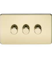 ML ACCESSORIES Screwless 3G 2-way 10-200W (5-150W Led) Trailing Edge Dimmer (Polished Brass)