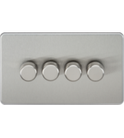 ML ACCESSORIES Screwless 4G 2 Way 10-200W Dimmer - (Brushed Chrome)