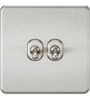 ML ACCESSORIES Screwless 10A 2G 2-Way Toggle Switch - (Brushed Chrome)
