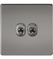 ML ACCESSORIES Screwless 10A 2G 2-Way Toggle Switch - (Black Nickel)