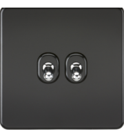 ML ACCESSORIES Screwless 10A 2G 2-Way Toggle Switch - Matt Black