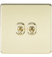 ML ACCESSORIES Screwless 10A 2G 2-Way Toggle Switch - (Polished Brass)