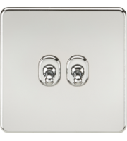 ML ACCESSORIES Screwless 10A 2G 2-Way Toggle Switch - (Polished Chrome)
