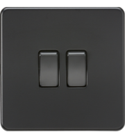 ML ACCESSORIES Screwless 10A 2G 2-Way Switch - (Matt Black)