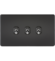 ML ACCESSORIES Screwless 10A 3G 2-Way Toggle Switch - (Matt Black)