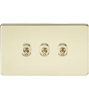 ML ACCESSORIES Screwless 10A 3G 2-Way Toggle Switch - (Polished Brass)