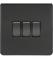 ML ACCESSORIES Screwless 10A 3G 2-Way Switch - (Matt Black)