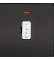 ML ACCESSORIES Screwless 13A Fused Spur Unit W/neon - (Matt Black) With Chrome Fuse Cap