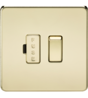 ML ACCESSORIES Screwless 13A Switched Fused Spur Unit - (Polished Brass)