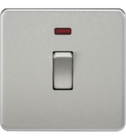ML ACCESSORIES Screwless 20A 1G Dp Switch With Neon - (Brushed Chrome)