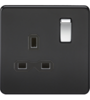 Screwless 13A 1G Dp Switched Socket - Matt Black W/chrome Rocker