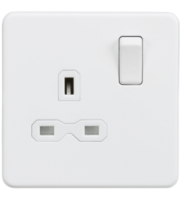 ML Accessories Screwless 13A 1G DP Switched Socket (Matt White)
