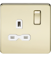 ML Accessories Screwless 13A 1G DP Switched Socket (Polished Brass)