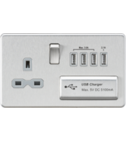 ML Accessories Screwless 1G 13A Switched Socket with Quad USB (Brushed Chrome)