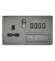 ML Accessories Screwless 1G 13A Switched Socket with Quad USB (Black Nickel)