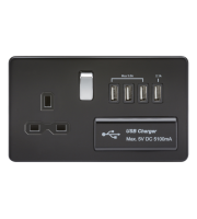 ML Accessories Screwless 1G 13A Switched Socket with Quad USB (Matt Black)
