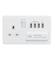 ML Accessories Screwless 1G 13A Switched Socket with Quad USB (Matt White)