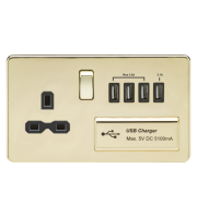 ML Accessories Screwless 1G 13A Switched Socket with Quad USB (Polished Brass)