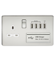 ML Accessories Screwless 1G 13A Switched Socket with Quad USB (Polished Chrome)