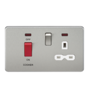 ML Accessories Screwless 45A DP Switch & 13A Socket with Neons (Brushed Chrome)