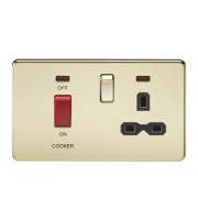 ML Accessories Screwless 45A DP Switch & 13A Socket with Neons (Polished Brass)