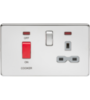 ML ACCESSORIES Screwless 45A Dp Switch & 13A Switched Socket With Neons - Polished Chrome With Grey Insert