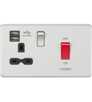 ML ACCESSORIES 45A Dp Switch & 13A Switched Socket With Dual Usb Charger 2.4A (Brushed Chrome With Black Insert)