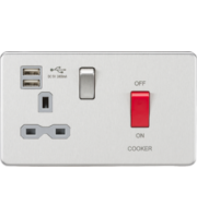 ML ACCESSORIES 45A Dp Switch & 13A Switched Socket With Dual Usb Charger 2.4A (Brushed Chrome With Grey Insert)